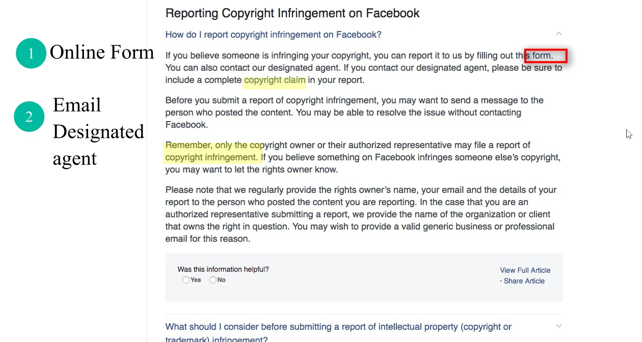 Reporting Copyright Infringement on Facebook to the designated agent Instead of submitting a report online, you can email Facebook's designated agent directly at ip@fb.com.You must include a complete copyright claim in your report.Only the copyright owner or their authorized representative may file a report of copyright infringement.